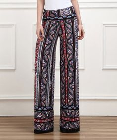 This Black Scarf-Print High-Waist Palazzo Pants by Reborn Collection is perfect! #zulilyfinds