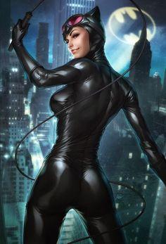 Catwoman – Selina Kyle – Batman Villain, Illustration painted by digital artist Stanley Lau. Batman Et Catwoman, Batman 1, Dc Batgirl, Spiderman, Catwoman Cosplay, Arte Dc Comics, Bd Comics, Archie Comics, Comics Girls