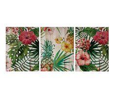 Impresión sobre madera Flores - 135x60 cm cm