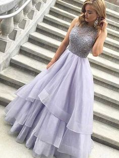 Prom Dresses For Teens, Beading Tiers Ball Gown Organza Prom Dresses Lavender Prom Dress, Beaded Prom Dress, Senior Prom Dress, Prom Dress for Teens Short prom dresses and high-low prom dresses are a flirty and fun prom dress option. Lavender Prom Dresses, Prom Dresses 2017, Dance Dresses, Ball Dresses, Ball Gowns, Evening Dresses, Bridesmaid Dresses, Prom Gowns, Dresses Dresses