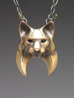 handcrafted bronze animal totem jewelry, bobcat totem jewelry