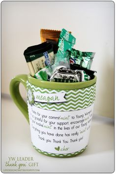 """Mint Mugs for YW Leaders --(Thanks for you commit""""mint"""" to Young Women's! I'm so grateful for your support, enourage""""mint"""" and for your involve""""mint"""" in the lives of our Young Women. Everything you have done has really """"mint"""" a lot! Thank you, thank you, thank you!)"""