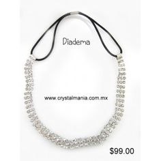 Diadema para cabello en color plateado con cristales estilo 23014