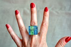 Turquoise blue green ring  Glass silver ring  Fused by BGLASSbcn