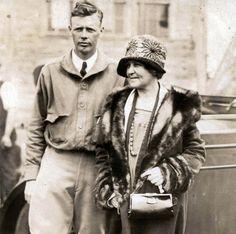 vintage photo Aviator Charles Lindbergh & His Mother 1930 Underwood RPPC. $24.00, via Etsy.