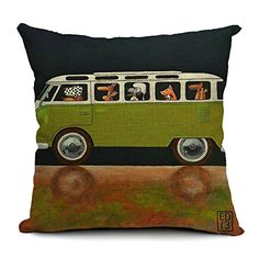 18''X 18'' Driving Dogs Cotton Linen Decorative Throw Pillow Cover Cushion Case (Black) DollKing http://www.amazon.com/dp/B00LITR7XK/ref=cm_sw_r_pi_dp_7q.yub0D8MBG6
