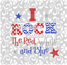 Patriotic SVG 4th of July I Rock design for  by CreativeCuttables
