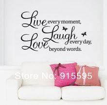 Gratis verzending: verkoop- promotie live love laugh letters transprent waterdichte vinyl muur citaten sticker/pvc muurstickers home decor(China (Mainland))