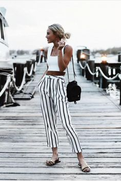 White stripe trousers and crop top | streetstyle | summer style | summer fashion | summer look