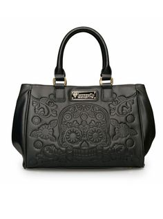 """""""Sugar Skull Embossed"""" Fashion Tote Bag by Loungefly (Black) faux leather"""