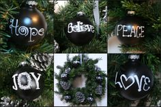 Chalkboard & Silver Pinecone Ornaments - Home Stories A to Z