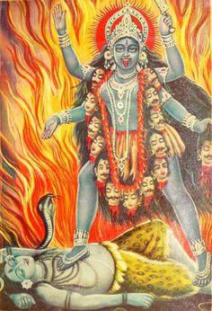 A fierce aspect of the Goddess: Kali trampling Shiva. Kali is especially venerated in Shaktism. Kali Goddess, Mother Goddess, Divine Mother, Hindus, Black Moon Lilith, Kali Mata, Hindu Deities, Hindu Art, Kali Hindu