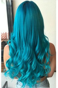 Long slightly wavy teal beautiful dyed hair