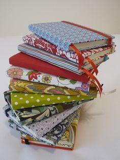 fabric notebooks green and white pokadots.