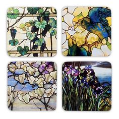 These heavy duty cork-backed coasters feature artwork by master decorative artist Louis Comfort Tiffany (American 1848-1933).