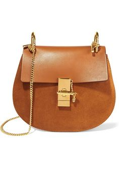 Light-brown leather and suede (Calf) Pin and clasp-fastening front flap Designer color: Caramel  Comes with dust bag Weighs approximately 2lbs/ 0.9kg Made in Italy