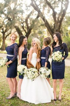 short navy bridesmaid dresses