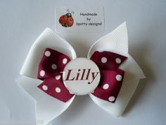 Handmade Personalised School hair bow bobble or clip lots of colours!