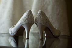 Bridal shoes - lace detail with Swarovski crystals