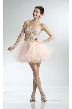 Ball Sweetheart See Through Short Champagne And Pink Tulle Layered Prom Dress Prom Dresses 2017, Prom Dresses For Sale, Formal Dresses, Cocktail Dress Prom, Pink Tulle, See Through, Champagne, Layers, Fashion