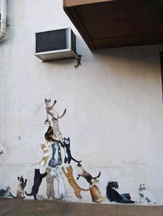 Cat graffiti posted by Urban Street Art. 3d Street Art, Street Art Graffiti, Amazing Street Art, Street Artists, Amazing Art, Urban Graffiti, Graffiti Artists, Awesome, Banksy
