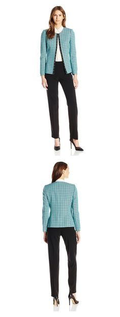 TAHARI ASL WOMEN'S TWEED PANT SUIT---------- Color:  Aqua/Black/White------------ 63% Polyester, 33% Rayon, 4% Spandex------------ Studded grosgrain along center front--------- Classy,Well Fitted,Vintage Suit for Business Work and Professional Purposes--------- Modern,Elegant Suit for Spring/Summer of 2016-----------