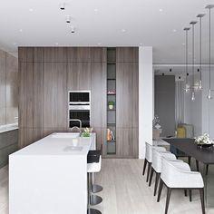 Neutral modern apartment by Anton Sukharev - kitchen Apartment Interior, Apartment Design, Kitchen Interior, Modern Interior, Interior Shop, Nordic Interior, Küchen Design, House Design, Design Ideas