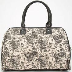 Two Tone Floral Print Duffle Bag