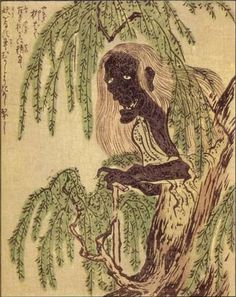 "Yanagi-baba (""willow witch"") is the spirit of 1,000-year-old willow tree. Anatomical features include long, green hair resembling leafy willow branches, wrinkled bark-like skin, a stomach that supplies nourishment directly to the tree roots, a sac for storing tree sap, and a cane cut from the wood of the old tree. Although Yanagi-baba is relatively harmless, she is known to harass passersby by snatching umbrellas into her hair, blowing fog out through her nose, and spitting tree sap."