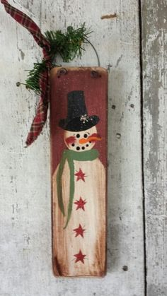 Primitive Snowman, Snowman, Painted Snowman, Country Snowman, Winter Decor, Christmas Decor, Sign, Hand Painted, Salvaged Wood by FlatHillGoods on Etsy