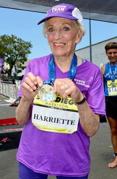 92 year old Harriette Thompson ran the San Diego Marathon in 7 hours, 24 minutes and 36 seconds  May 31, 2015
