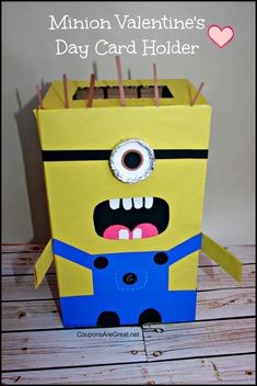 Minion Valentine's Day Card Holder - Coupons Are Great - so adorable!