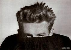 James Dean in a chunky knit. Love the hair.
