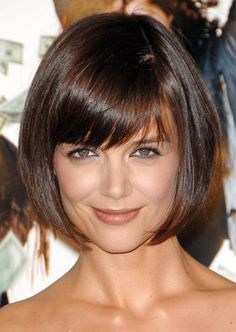bob style haircuts for women | Katie Holmes Bob Haircut: Cute Box Bob Cut with Bangs for Women
