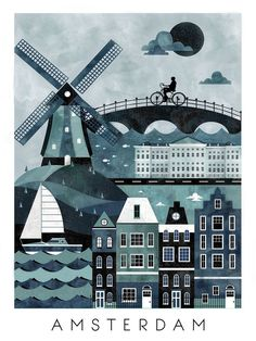 This is part of a series of travel poster illustrations. I gathered reference of various aspects and landmarks of Amsterdam to create a vector illustration of the city. Lloyd Hotel Amsterdam, Amsterdam Houses, Amsterdam City, Amsterdam Travel, Amsterdam Images, Amsterdam Holland, Poster On, Poster Prints, Art Print
