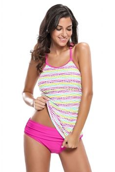 b0bab9a49a Colorful Polka Dot Rosy 2pcs Tankini Swimsuit. Women SwimsuitsTwo ...