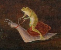 a frog. riding a snail. Psychedelic Art, Pretty Art, Cute Art, Frog Art, Cute Frogs, Photocollage, New Wall, Aesthetic Art, Oeuvre D'art