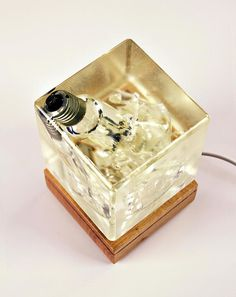 Shattered bulb in epoxy Lamp, Warm Light, Table Lamp, Wood Lamp, Desk Lamp, Hand made Lamp, LED, Epoxy, Resin, Fancy Lamp
