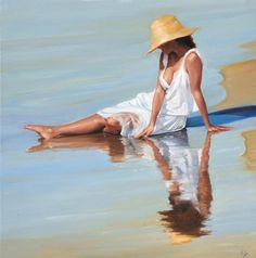 Art by Ricardo Sanz Painting People, Woman Painting, Figure Painting, Acrylic Painting Tips, Jolie Photo, Beach Scenes, Fine Art, Girl With Hat, Pictures To Paint