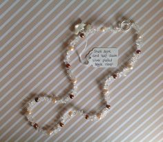 Clear Quartz Nuggets, Brown & Peach Pearls, Shell Dove Stunning Necklace with Silver Plated Clasp by RosaJaanLoves on Etsy https://www.etsy.com/listing/247927624/clear-quartz-nuggets-brown-peach-pearls