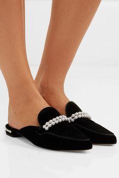 Stuart Weitzman - Guamule Faux Pearl-embellished Velvet Slippers - Black
