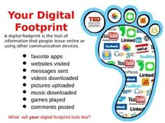 Help students understand the concept of digital citizenship and digital footprint using the teaching slide along with the printable worksheet. Decorate the computer lab or hallway with the students' finished projects. Teaching Technology, Digital Technology, Educational Technology, Safe Internet, Internet Safety, The Computer, Computer Science, Computer Gadgets, Digital Citizenship Lessons