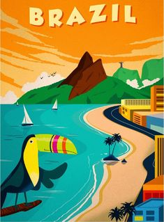 Rio de Janeiro Brazil Toucan Bird Vintage Travel Art Poster Advertisement in Posters | eBay