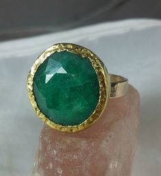 Emerald Ring, Solitaire Ring, Solid yellow gold and Emerald Ring ring, Gemstone Gold Ring