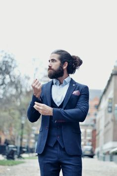 Marc Darcy suits are the epitome of the quintessential English gentlemen. They pride themselves on h Hairstyle With Suit, Man Bun Hairstyles, English Gentleman, Three Piece Suit, Still Standing, Modern Outfits, Mens Suits, Physique, Outfit Of The Day