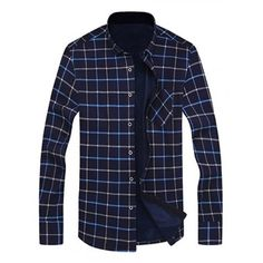Long Sleeve Chest Pocket Flocking Grid Shirt #shoes, #jewelry, #women, #men, #hats