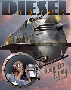 Dieselpunk is a genre similar to steampunk that combines the Tier 2 Industrial technology and aesthetics of the diesel-based technology of the interwar period through to the with retro-futuristic technology and postmodern sensibilities. Diesel Punk, Arte Sci Fi, Sci Fi Art, Streamline Moderne, Retro Poster, Vintage Posters, Punk Poster, Cyberpunk Derivatives, Science Fiction