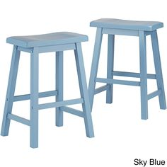 Salvador Saddle Back 24-inch Counter Height Backless Stool by Inspire Q (Set of 2) (Sky Blue) (Rubberwood)