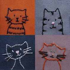 Embroidered Cats..just plain cute  What a fun way to practice stitches and perfect inspiration for a child to stitch.