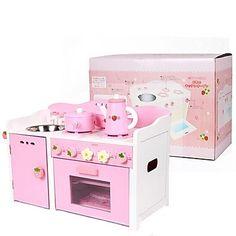 madeira fogão de cozinha rosa fingir brinquedo do jogo - BRL R$ 779,97